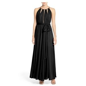 NWT Lulus Chiffon Gown Dress XS Black Cut Out Long